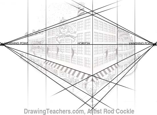 2-point perspective drawing lesson 4
