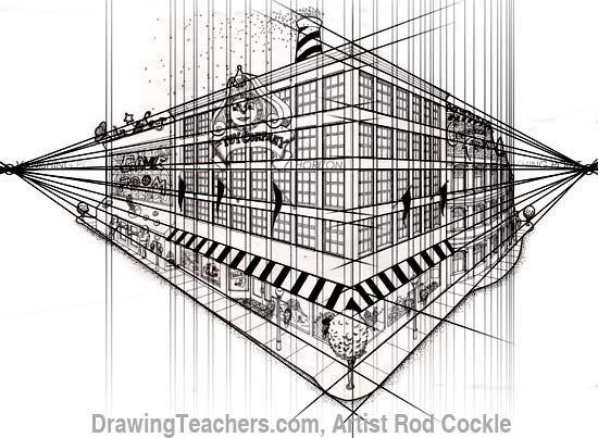 2 point perspective drawing lesson for Exterior 2 point perspective