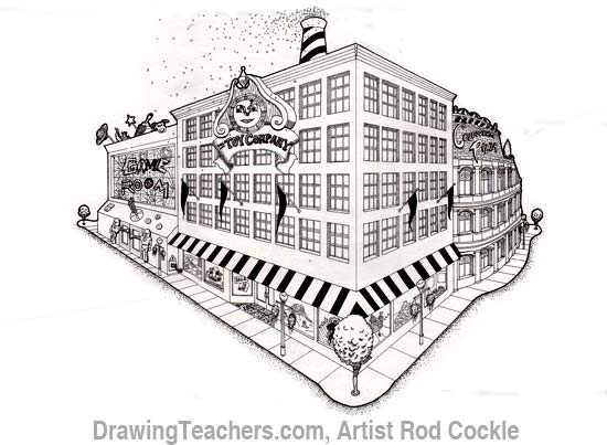 2-point perspective drawing lesson 6
