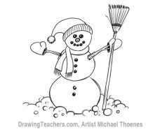 How to Draw a snowman Step 16