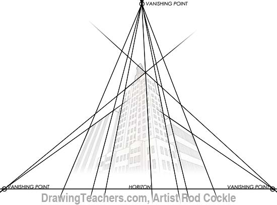 3-point perspective drawing lesson 3