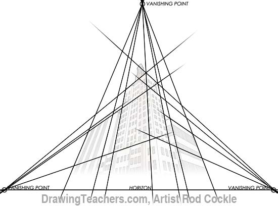 3-point perspective drawing lesson 4