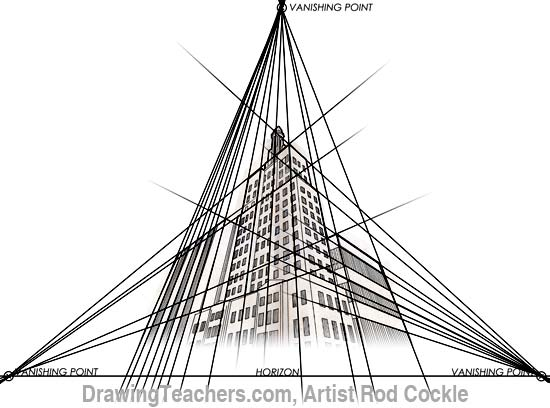 3-point perspective drawing lesson 5