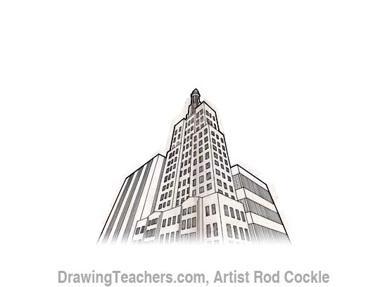 3-point perspective drawing lesson 6