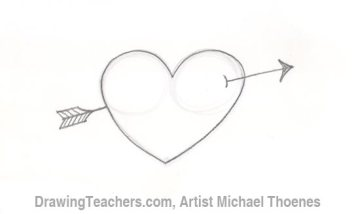 How to Draw a heart with arrow Step 3