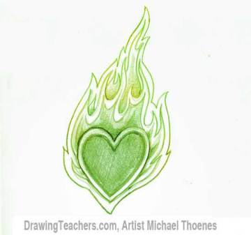 How to Draw a heart-with-Flames Step 7