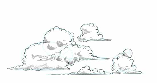 Cloud Shapes Drawing How to Draw Clouds Step 3