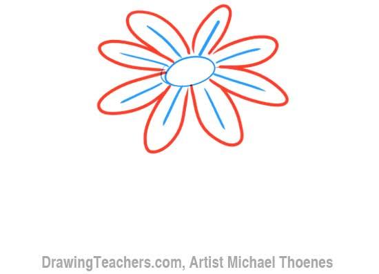 How to Draw a Cartoon Flower 4