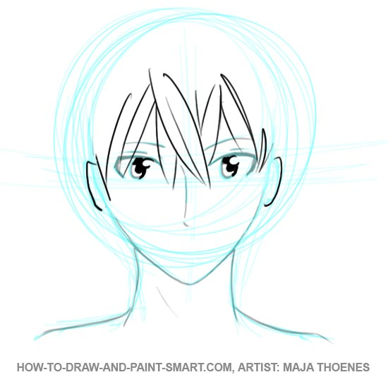 How to Draw Anime Boys Face Step 4