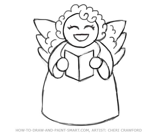 How Draw Angel Wings Body And Face Tutorial Drawing