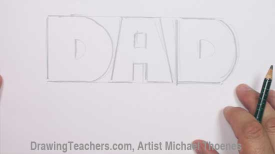 dad in block letters step 1
