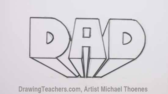 dad in block letters step 5