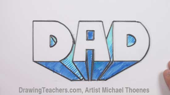 Draw Dad In Block Letters