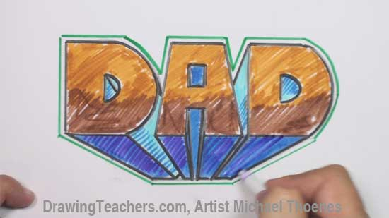 You Can Create This Design By Following Along With Video Drawing Lessons Of How To Write DAD In 3d Graffiti Letters