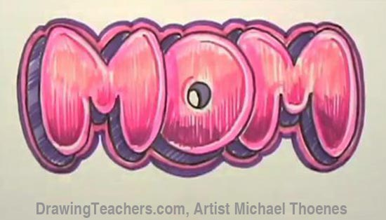 Graffiti Bubble Letters Mom Part 9 You Can Also Add A Background To Your Design This Cloud With Stars Helps Complete