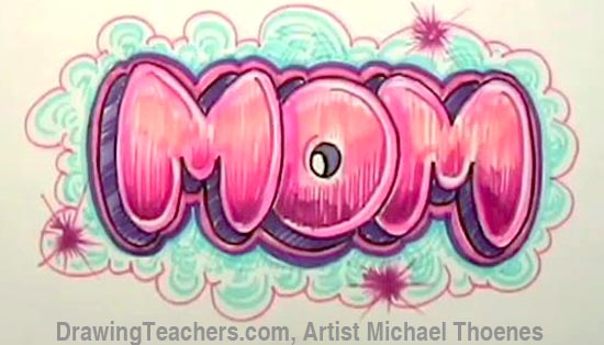 Draw Mom In Bubble Letters