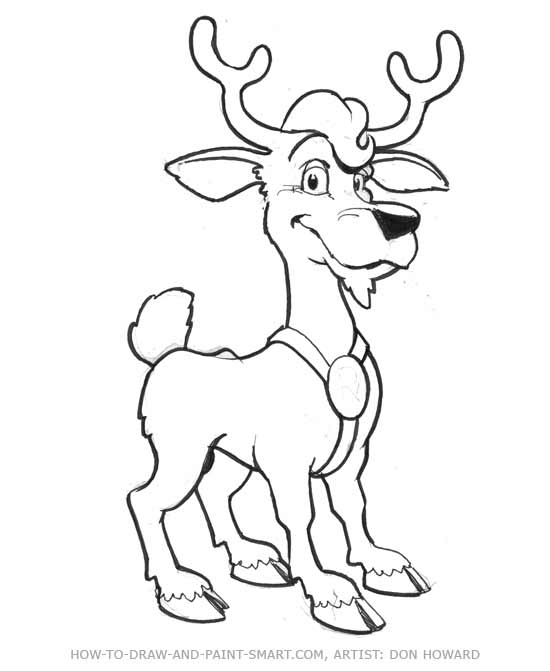 how to draw a red deer