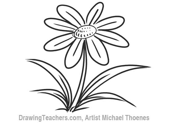 How to Draw a Cartoon Flower 8