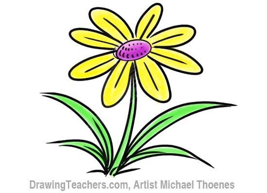 How to Draw a Cartoon Flower 9