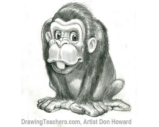 Cartoon Monkey 6. Drawing 6: