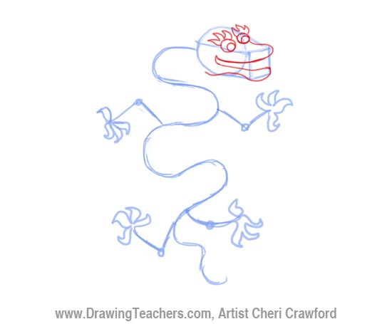 Chinese Dragon Drawing Step 4