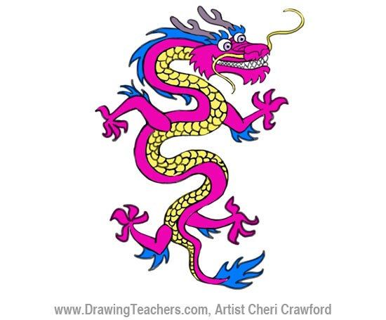 Chinese Dragon Drawing Step 5