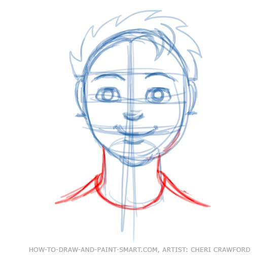 Human face tutorial drawing 9