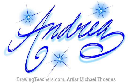 The Name Andrea In Bubble Letters