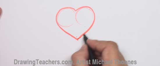 How to Draw a heart with Wings Step 1