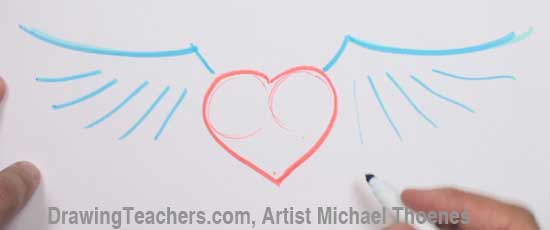 How to Draw a heart with Wings Step 2