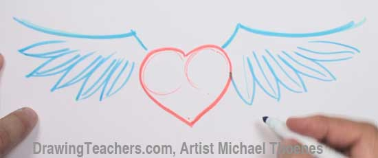 How to Draw a heart with Wings Step 3