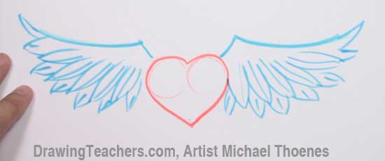 How to Draw a heart with Wings Step 5