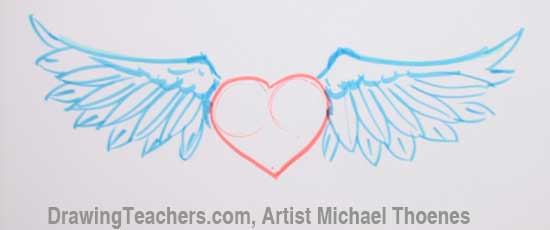 How to Draw a heart with Wings Step 6