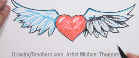 How to Draw a heart with Wings Step 7