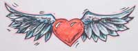 Heart with wings drawing for Something to draw for your girlfriend