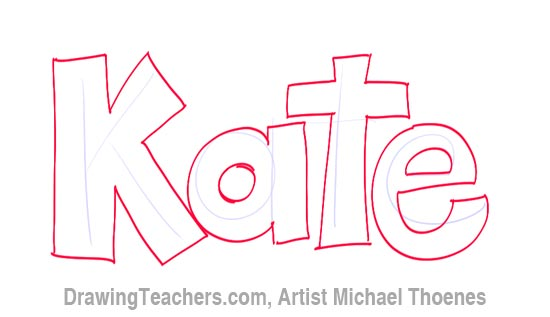 How to Draw 3D Letters Kate