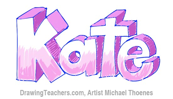 How to Draw 3D Letters - Kate