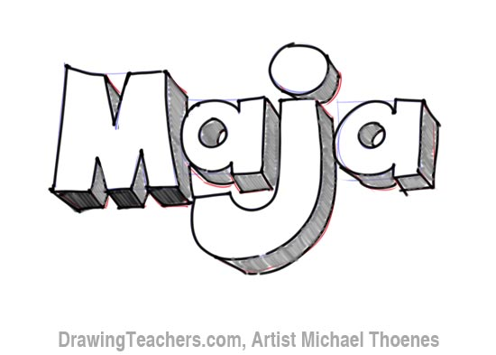 How to Draw 3D Letters Maja