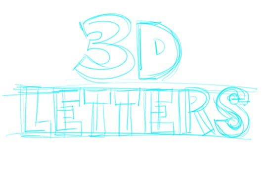 How to Draw 3D-Letters Step 2