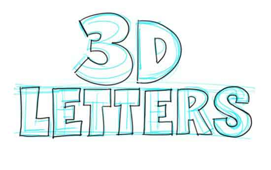 How to Draw 3D-Letters Step 3