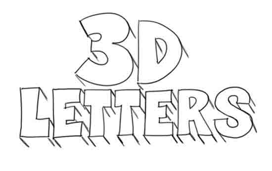 How To Draw 3D Letters Step 4