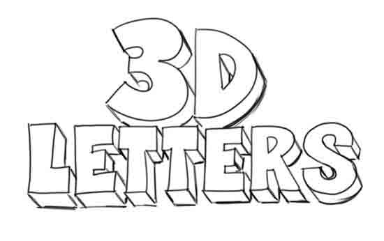 How to Draw 3D-Letters Step 5