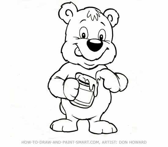 how to draw a cartoon bear