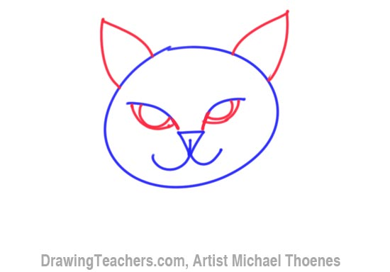 dog step 3 cartoon cat face drawing 4 detail the insides of the ears with some marks to indicate fur and draw in the pupils of the cats eyes