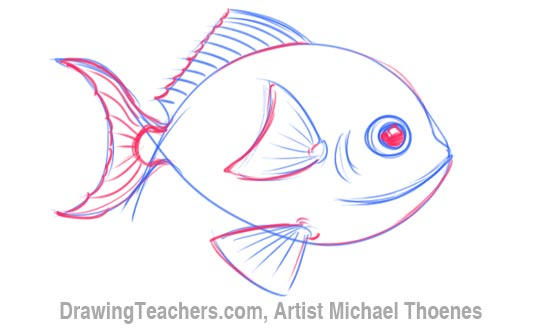 How to Draw a Cartoon Fish 4