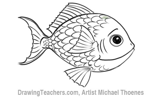 How to draw a cartoon fish 8