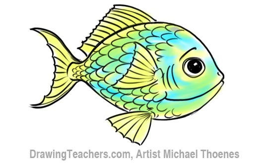 How to Draw a Cartoon Fish 11
