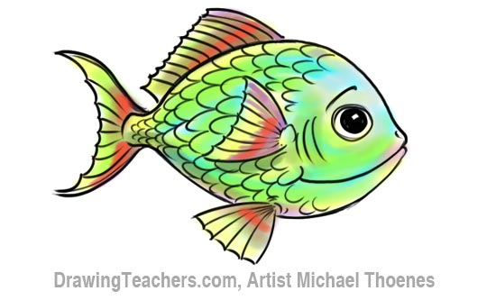 How to Draw a Cartoon Fish 12