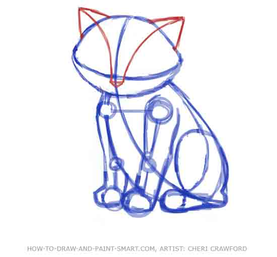 How to Draw a Cat Face Step 2