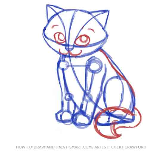 How to Draw a Cat Face Step 7